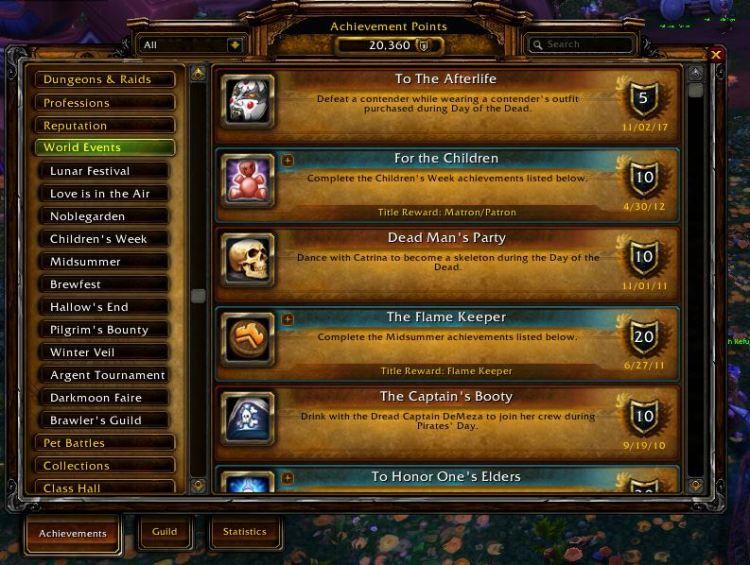 World Events Tab Warcraft Achievements