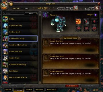 Battle Pet Tab Warcraft