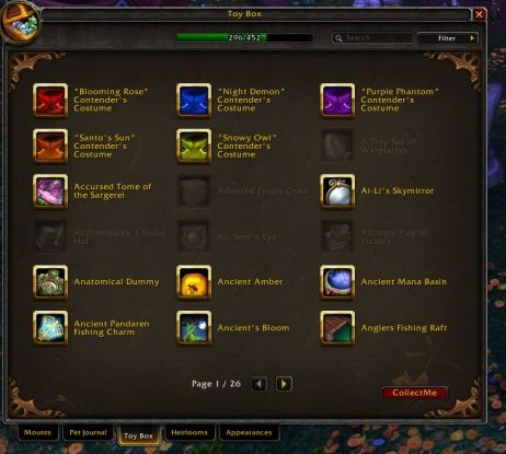 Toy Collection Tab Warcraft